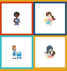 Flat icon parent set of perambulator mam child vector