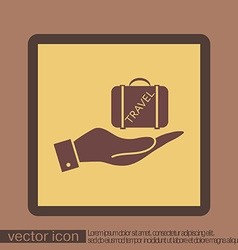 hand holding a symbol of a suitcase for travel vector image