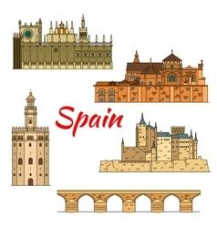 Historical travel landmarks of Spain linear symbol vector image