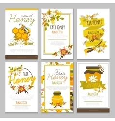 Honey hand drawn posters collection vector