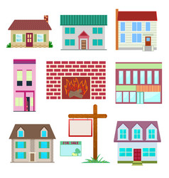 house set colourful home icon collection vector image vector image