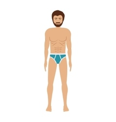 Men with blue swimming boxer vector