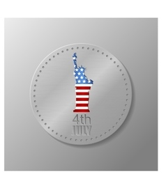 Metal plate with us flag and statue of liberty vector
