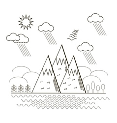 Mountain linear background vector