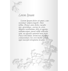Peonies text frame grey vector