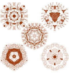 set from five brown round mandalas vector image vector image