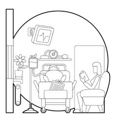 Sick man lies in hospital ward concept vector