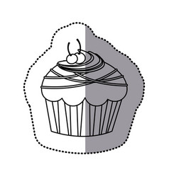 Silhouette muffin with cherrys and chocolate icon vector