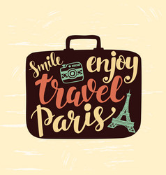 travel label with lettering in suitcase vector image vector image