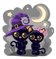 Two black kittens vector