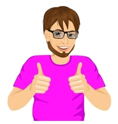 Young man showing thumbs up sign vector