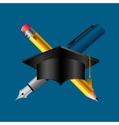 Graduation school emblem icon vector