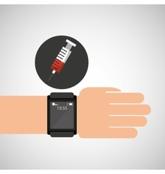 smartwatch device health syringe vector image