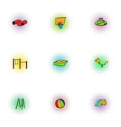 Children swing icons set pop-art style vector