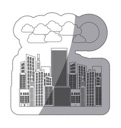 silhouette city builds with clouds and sun vector image