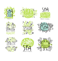 Spa club set for label design health and beauty vector