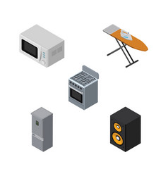 Isometric appliance set of microwave stove vector
