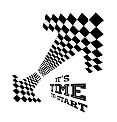 Clock arrows in the form of checkered flag vector image