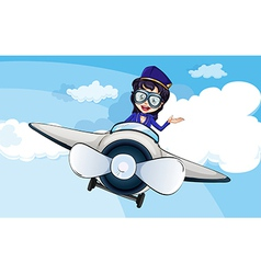 A hostess on a plane vector