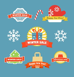 Winter discount labels set vector