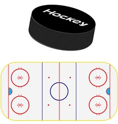Hockey field and puck vector
