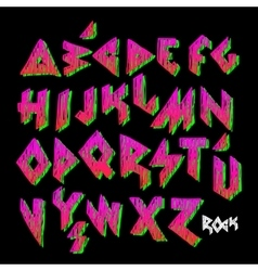 Creative colorful alphabet rock style vector