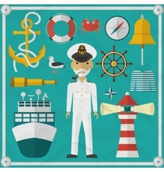 Captain captain and nautical flat icons vector