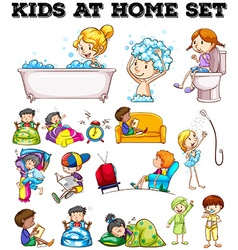 Children doing different activities vector
