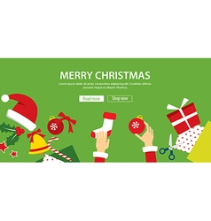 Merry christmas banner flat design vector