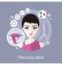 Piercing salon flat style design vector