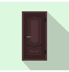 Brown steel door icon flat style vector