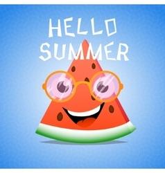 Funny cartoon piece of watermelon vector