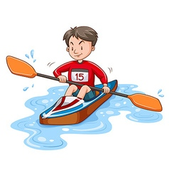 Man athlete canoeing on water vector