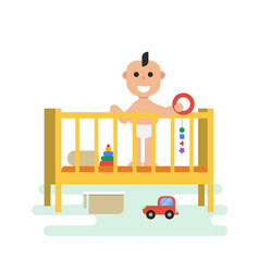 baby in crib with toys vector image vector image