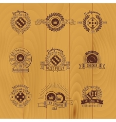 Backgammon monochrome emblems vector