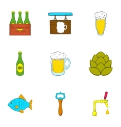 Barley drink icons set cartoon style vector