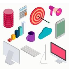 Business isometric elements set vector image