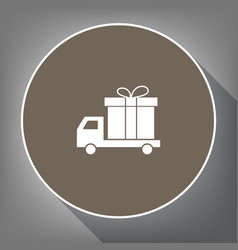 Delivery gift sign white icon on brown vector