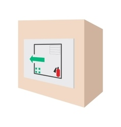Evacuation plans and fire extinguishe cartoon icon vector image vector image
