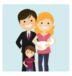 family with a son and a newborn baby on blue vector image vector image