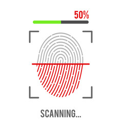 fingerprint scanning icon isolated on white vector image vector image