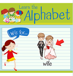 Flashcard letter w is for wife vector