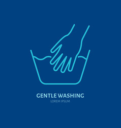 Handwash icon gentle washing line sign flat logo vector