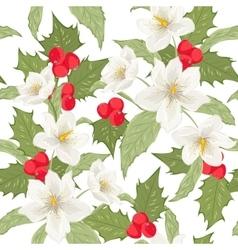 Holly berry mistletoe hellebore seamless pattern vector image vector image