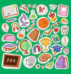 School icons set education collection vector