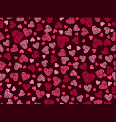 seamless pattern with hearts and ornament vector image vector image