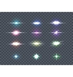 Set glows bright star lights glowing stars vector