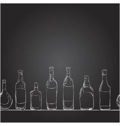 Set of bottles with alcohol the style of vector