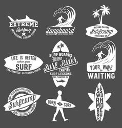 set of vintage surfing labels badges and emblems vector image vector image