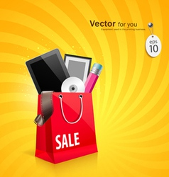 Shopping red bag vector